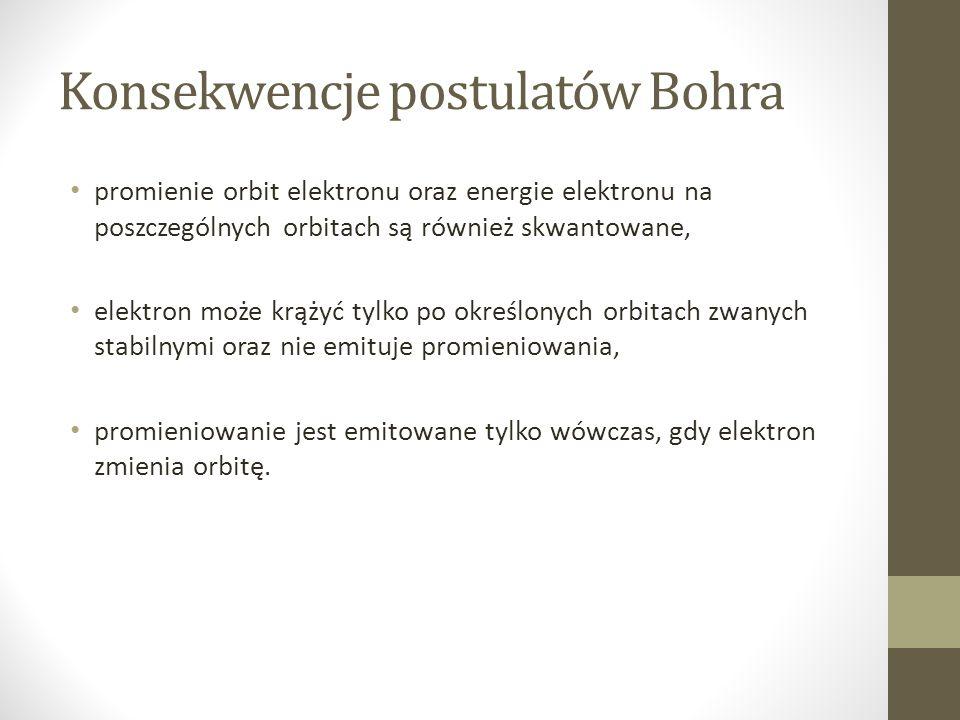 Konsekwencje postulatów Bohra promienie orbit elektronu oraz energie elektronu na poszczególnych orbitach są również skwantowane, elektron może krążyć tylko po określonych orbitach zwanych stabilnymi oraz nie emituje promieniowania, promieniowanie jest emitowane tylko wówczas, gdy elektron zmienia orbitę.
