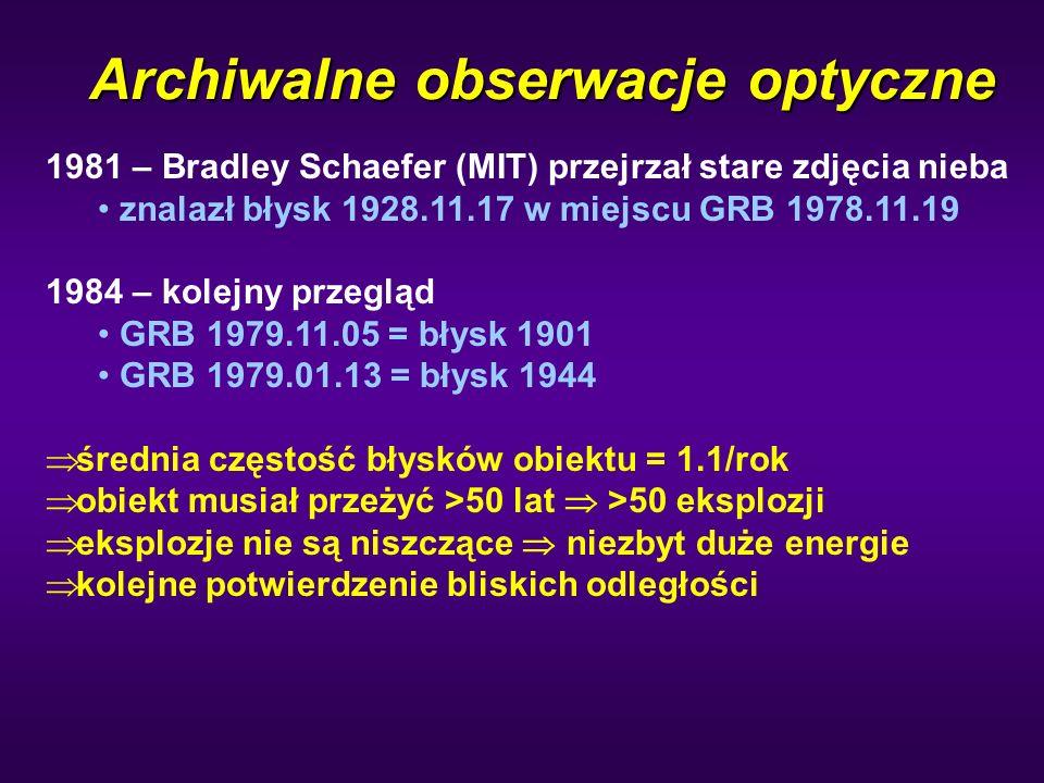 Archiwalne obserwacje optyczne 1981 – Bradley Schaefer (MIT) przejrzał stare zdjęcia nieba znalazł błysk 1928.11.17 w miejscu GRB 1978.11.19 1984 – ko