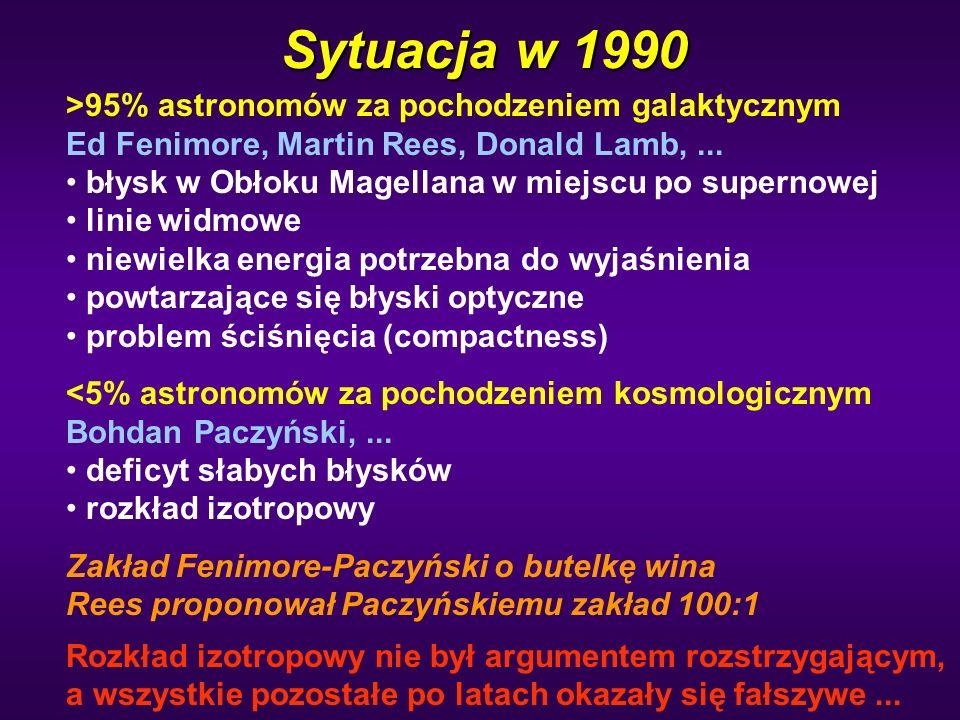Sytuacja w 1990 >95% astronomów za pochodzeniem galaktycznym Ed Fenimore, Martin Rees, Donald Lamb,... błysk w Obłoku Magellana w miejscu po supernowe