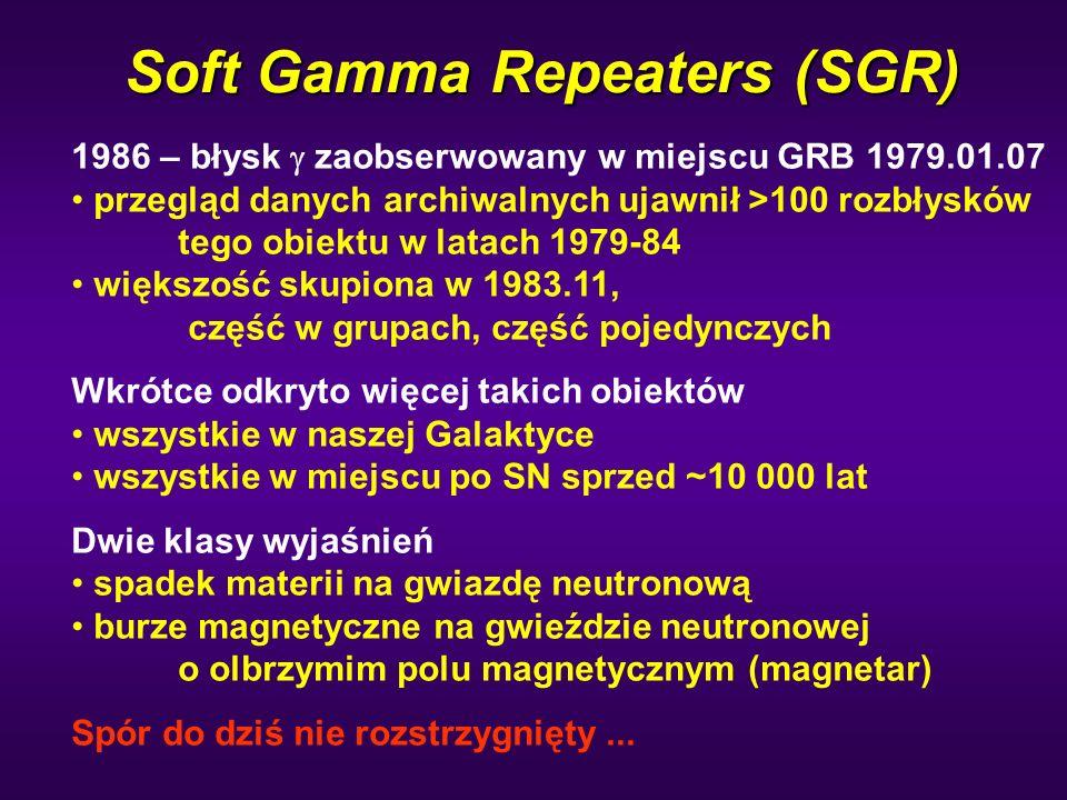Soft Gamma Repeaters (SGR) 1986 – błysk  zaobserwowany w miejscu GRB 1979.01.07 przegląd danych archiwalnych ujawnił >100 rozbłysków tego obiektu w l