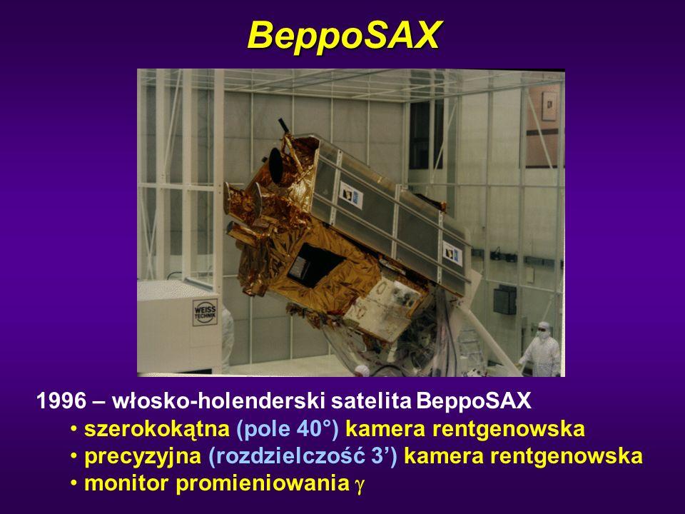 BeppoSAX 1996 – włosko-holenderski satelita BeppoSAX szerokokątna (pole 40°) kamera rentgenowska precyzyjna (rozdzielczość 3') kamera rentgenowska mon