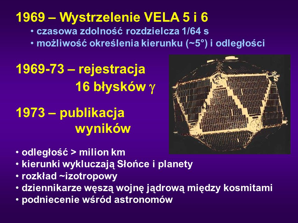 1969 – Wystrzelenie VELA 5 i 6 czasowa zdolność rozdzielcza 1/64 s możliwość określenia kierunku (~5°) i odległości 1969-73 – rejestracja 16 błysków  1973 – publikacja wyników odległość > milion km kierunki wykluczają Słońce i planety rozkład ~izotropowy dziennikarze węszą wojnę jądrową między kosmitami podniecenie wśród astronomów