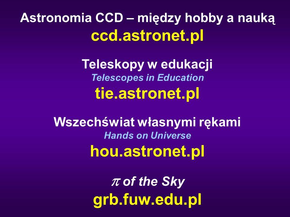 Astronomia CCD – między hobby a nauką ccd.astronet.pl Teleskopy w edukacji Telescopes in Education tie.astronet.pl Wszechświat własnymi rękami Hands on Universe hou.astronet.pl  of the Sky grb.fuw.edu.pl