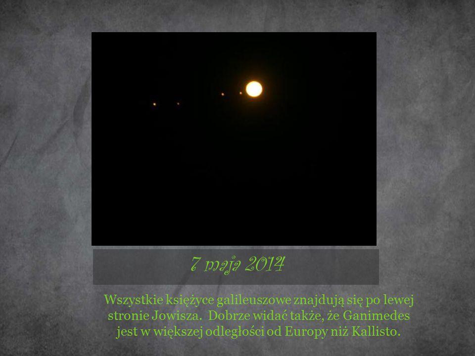 7 maja 2014 Wszystkie księżyce galileuszowe znajdują się po lewej stronie Jowisza. Dobrze widać także, że Ganimedes jest w większej odległości od Euro