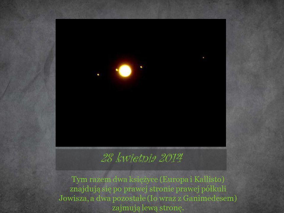 28 kwietnia 2014 Tym razem dwa księżyce (Europa i Kallisto) znajdują się po prawej stronie prawej półkuli Jowisza, a dwa pozostałe (Io wraz z Ganimedesem) zajmują lewą stronę.