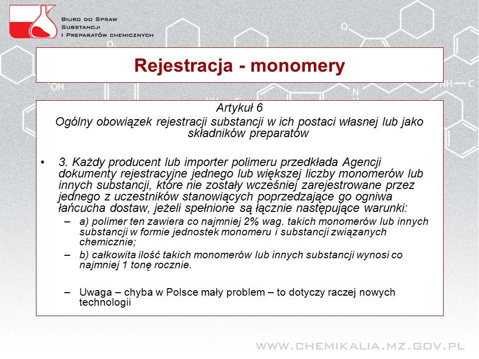Rejestracja - monomery Artykuł 6 Ogólny obowiązek rejestracji substancji w ich postaci własnej lub jako składników preparatów 3.