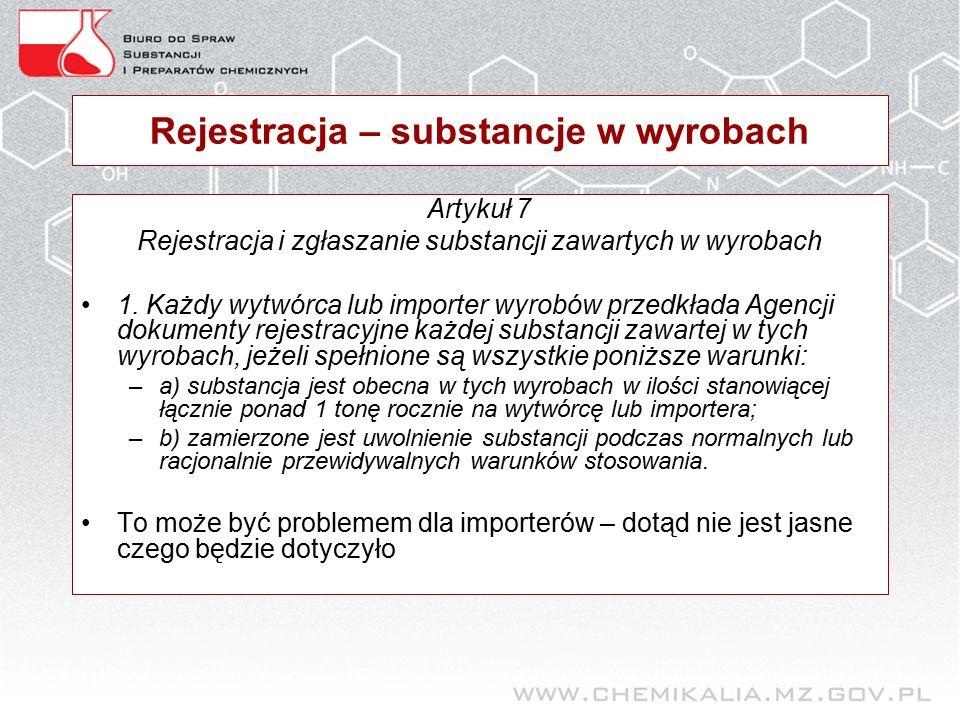 Rejestracja – substancje w wyrobach Artykuł 7 Rejestracja i zgłaszanie substancji zawartych w wyrobach 1.