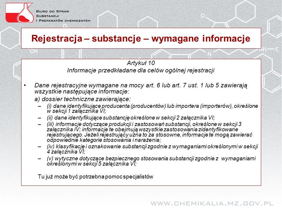 Rejestracja – substancje – wymagane informacje Artykuł 10 Informacje przedkładane dla celów ogólnej rejestracji Dane rejestracyjne wymagane na mocy art.