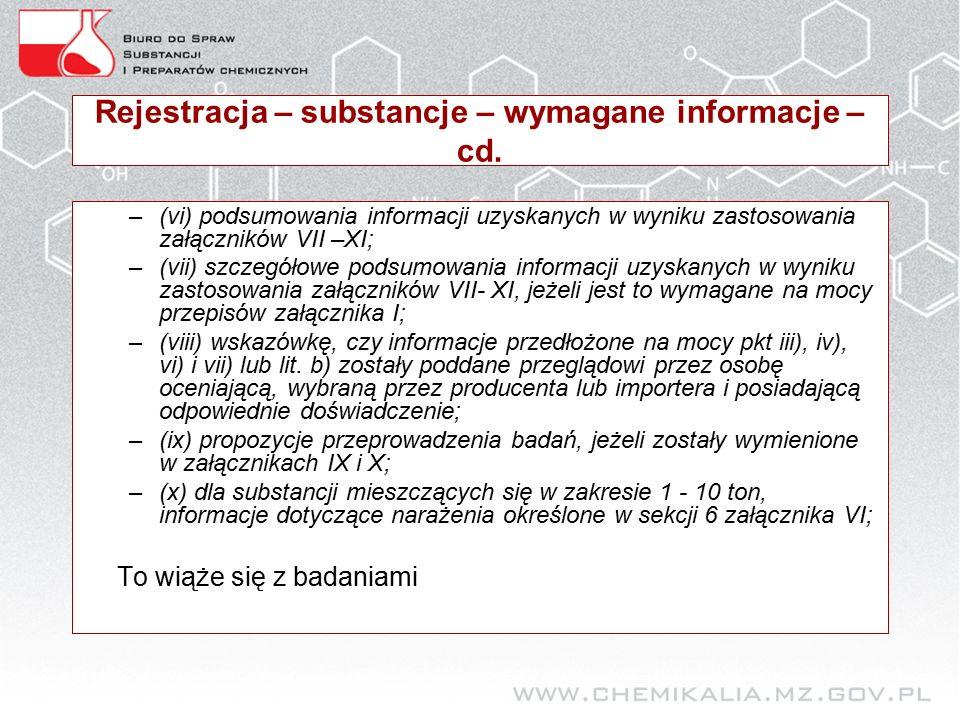 Rejestracja – substancje – wymagane informacje – cd.