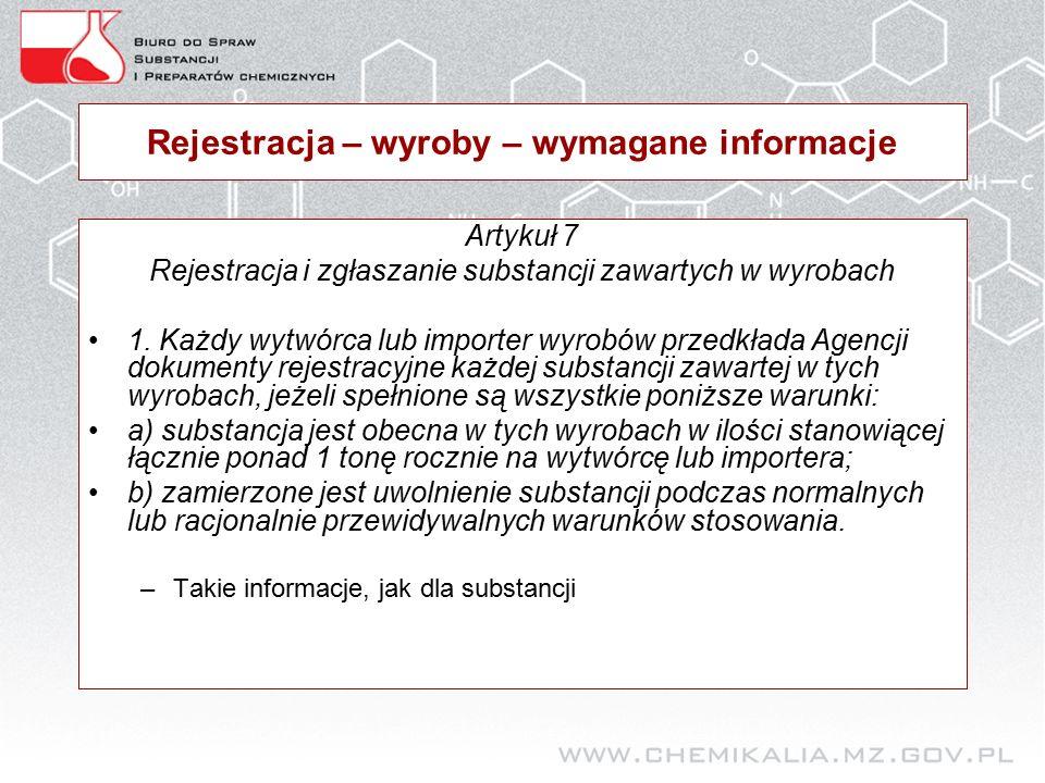 Rejestracja – wyroby – wymagane informacje Artykuł 7 Rejestracja i zgłaszanie substancji zawartych w wyrobach 1.