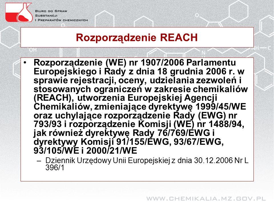 Rozporządzenie REACH Rozporządzenie (WE) nr 1907/2006 Parlamentu Europejskiego i Rady z dnia 18 grudnia 2006 r.