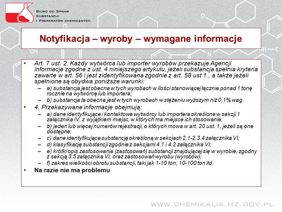 Notyfikacja – wyroby – wymagane informacje Art. 7 ust.