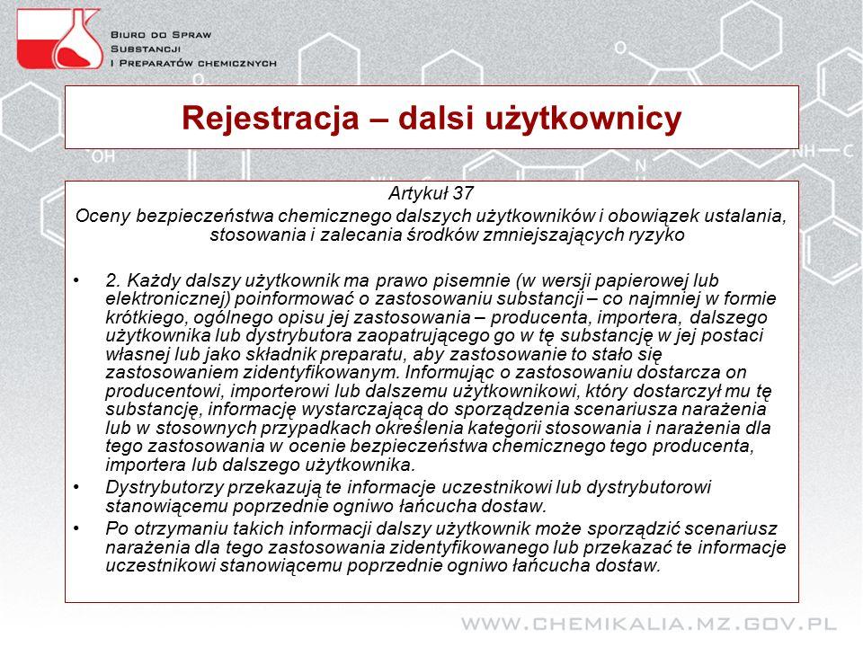 Rejestracja – dalsi użytkownicy Artykuł 37 Oceny bezpieczeństwa chemicznego dalszych użytkowników i obowiązek ustalania, stosowania i zalecania środków zmniejszających ryzyko 2.