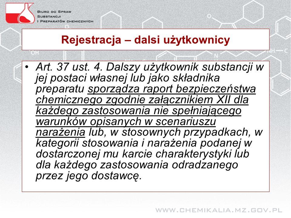 Rejestracja – dalsi użytkownicy Art. 37 ust. 4.