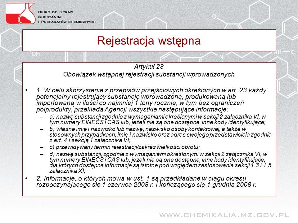 Rejestracja wstępna Artykuł 28 Obowiązek wstępnej rejestracji substancji wprowadzonych 1.