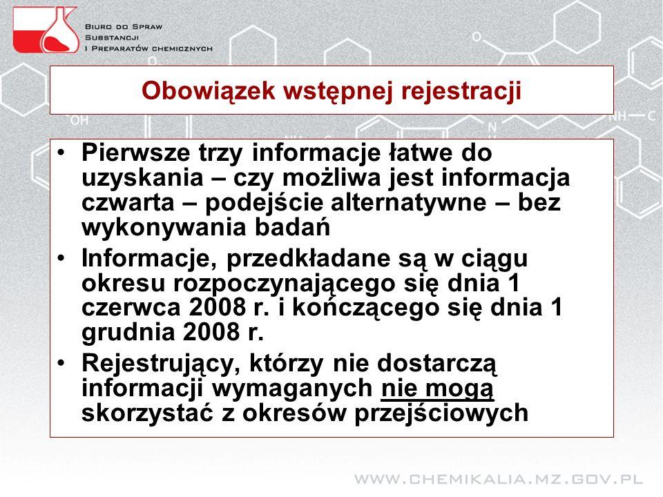 Obowiązek wstępnej rejestracji Pierwsze trzy informacje łatwe do uzyskania – czy możliwa jest informacja czwarta – podejście alternatywne – bez wykonywania badań Informacje, przedkładane są w ciągu okresu rozpoczynającego się dnia 1 czerwca 2008 r.
