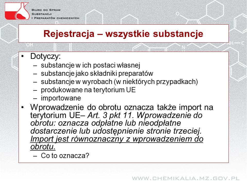 Rejestracja – wszystkie substancje Dotyczy: –substancje w ich postaci własnej –substancje jako składniki preparatów –substancje w wyrobach (w niektórych przypadkach) –produkowane na terytorium UE –importowane Wprowadzenie do obrotu oznacza także import na terytorium UE– Art.