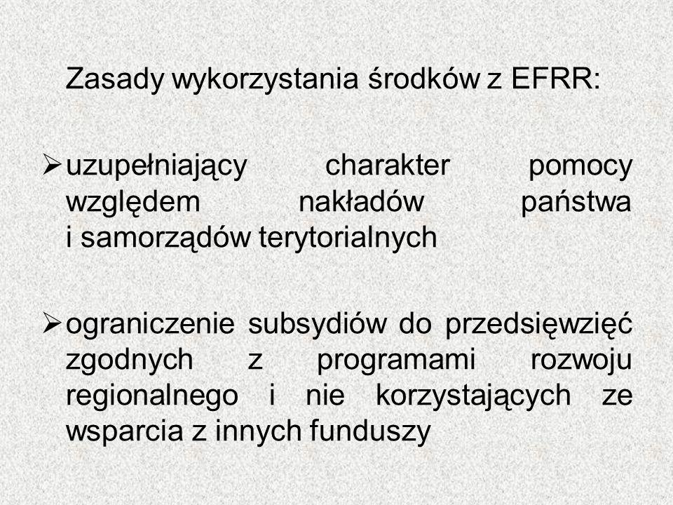 Zasady wykorzystania środków z EFRR:  uzupełniający charakter pomocy względem nakładów państwa i samorządów terytorialnych  ograniczenie subsydiów d