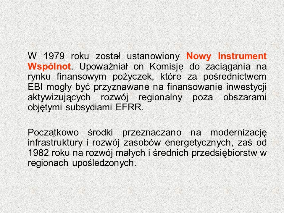 W 1979 roku został ustanowiony Nowy Instrument Wspólnot. Upoważniał on Komisję do zaciągania na rynku finansowym pożyczek, które za pośrednictwem EBI
