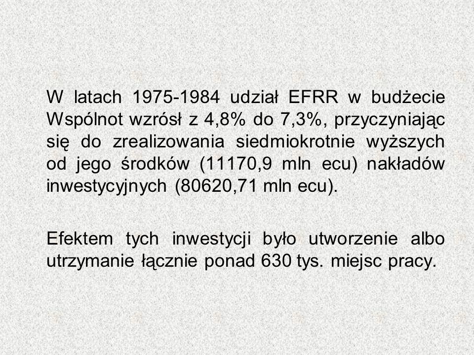 W latach 1975-1984 udział EFRR w budżecie Wspólnot wzrósł z 4,8% do 7,3%, przyczyniając się do zrealizowania siedmiokrotnie wyższych od jego środków (