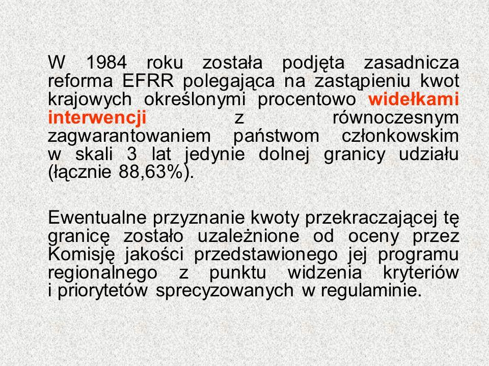 W 1984 roku została podjęta zasadnicza reforma EFRR polegająca na zastąpieniu kwot krajowych określonymi procentowo widełkami interwencji z równoczesn