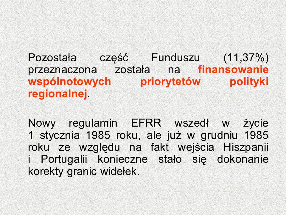 Pozostała część Funduszu (11,37%) przeznaczona została na finansowanie wspólnotowych priorytetów polityki regionalnej. Nowy regulamin EFRR wszedł w ży