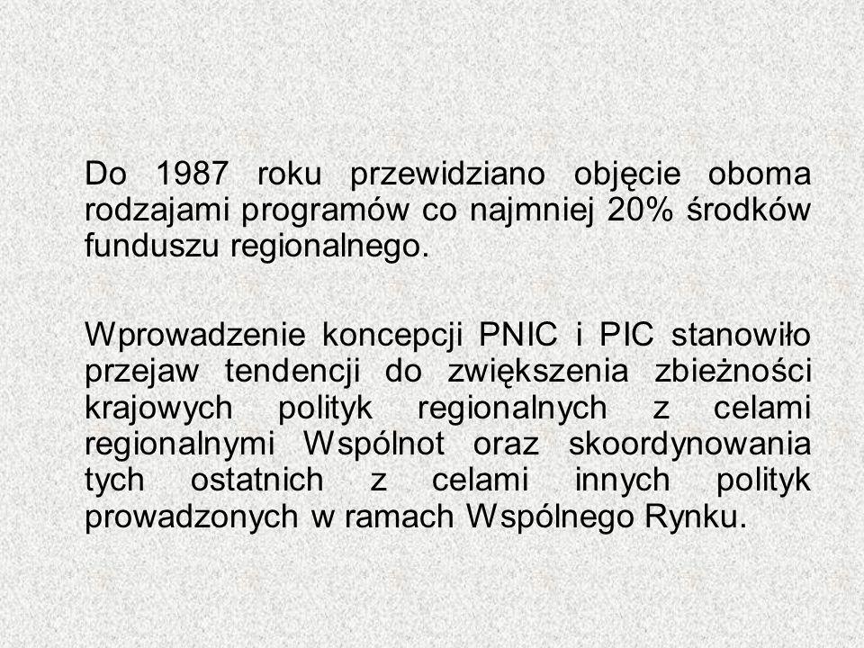 Do 1987 roku przewidziano objęcie oboma rodzajami programów co najmniej 20% środków funduszu regionalnego. Wprowadzenie koncepcji PNIC i PIC stanowiło