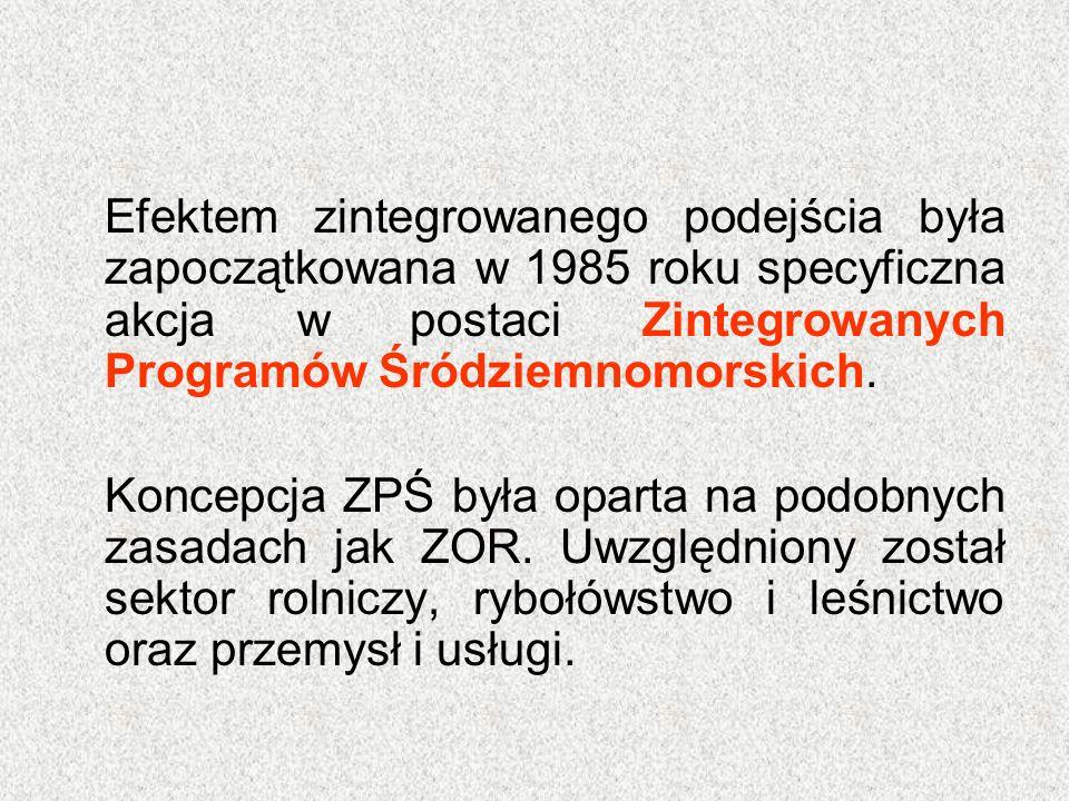 Efektem zintegrowanego podejścia była zapoczątkowana w 1985 roku specyficzna akcja w postaci Zintegrowanych Programów Śródziemnomorskich. Koncepcja ZP