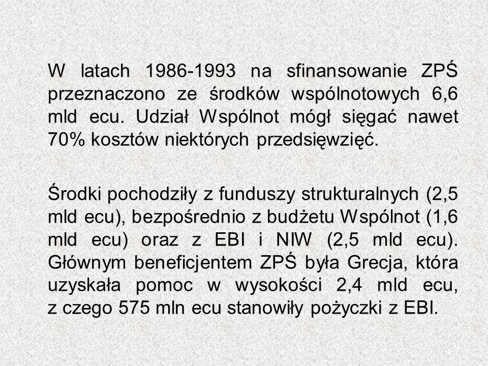W latach 1986-1993 na sfinansowanie ZPŚ przeznaczono ze środków wspólnotowych 6,6 mld ecu. Udział Wspólnot mógł sięgać nawet 70% kosztów niektórych pr
