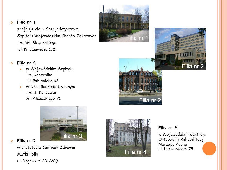 Filia nr 1 znajduje się w Specjalistycznym Szpitalu Wojewódzkim Chorób Zakaźnych im. Wł. Biegańskiego ul. Kniaziewicza 1/5 Filia nr 2 w Wojewódzkim Sz