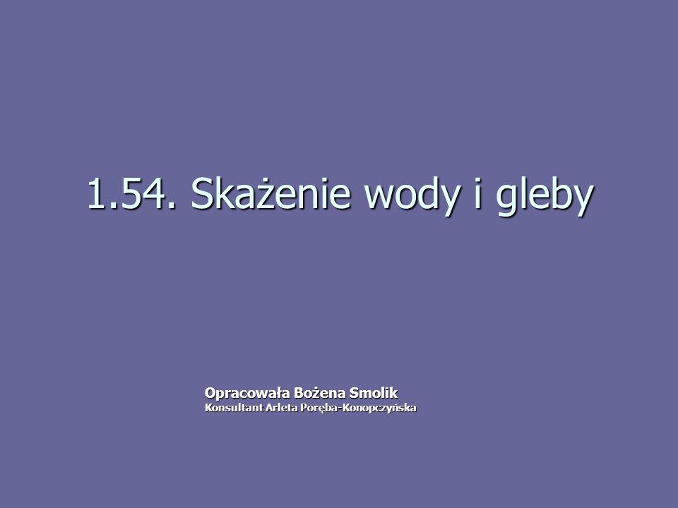 1.54. Skażenie wody i gleby Opracowała Bożena Smolik Konsultant Arleta Poręba-Konopczyńska
