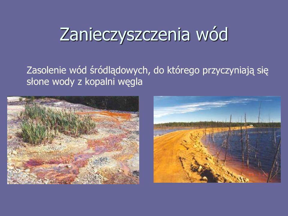 Zanieczyszczenia wód Zasolenie wód śródlądowych, do którego przyczyniają się słone wody z kopalni węgla