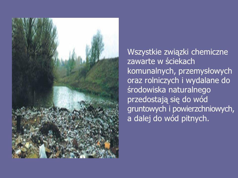 Wszystkie związki chemiczne zawarte w ściekach komunalnych, przemysłowych oraz rolniczych i wydalane do środowiska naturalnego przedostają się do wód gruntowych i powierzchniowych, a dalej do wód pitnych.