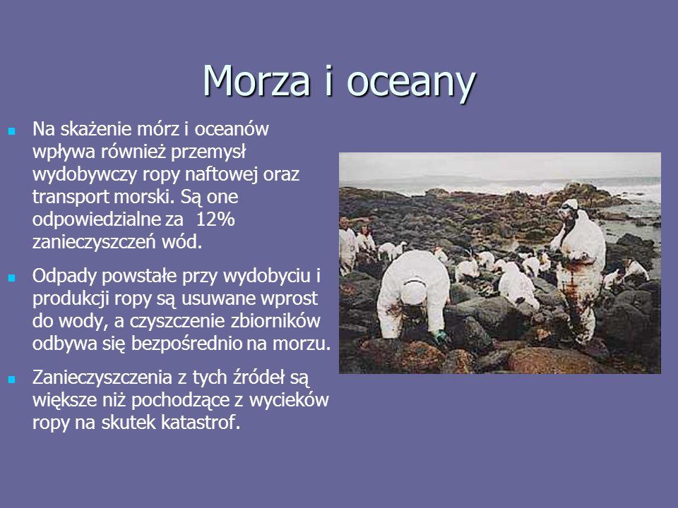 Morza i oceany Na skażenie mórz i oceanów wpływa również przemysł wydobywczy ropy naftowej oraz transport morski.