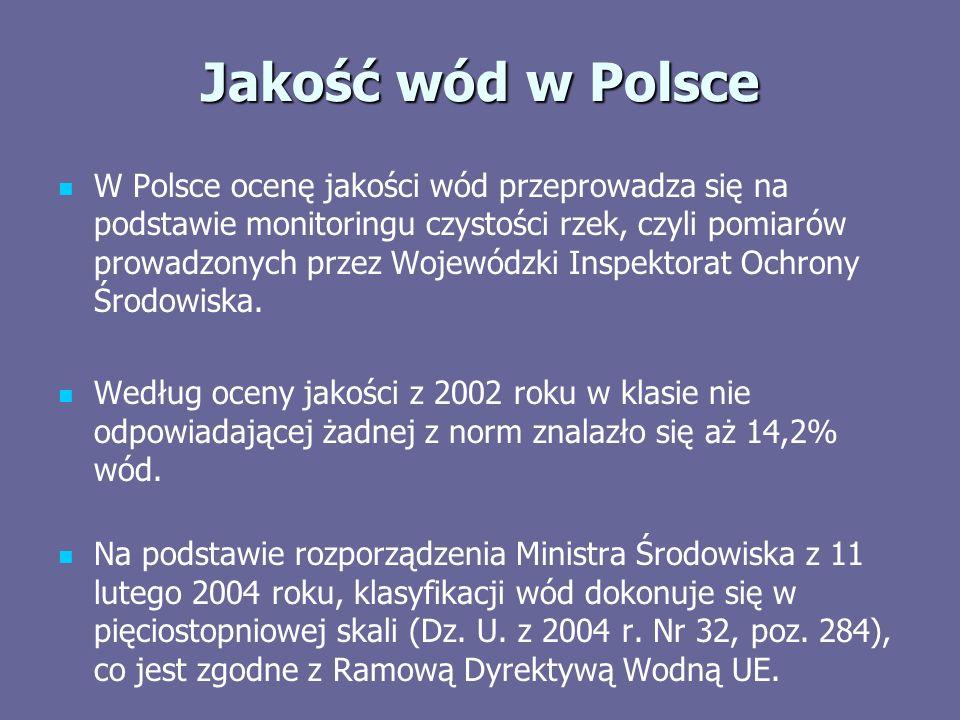 Jakość wód w Polsce W Polsce ocenę jakości wód przeprowadza się na podstawie monitoringu czystości rzek, czyli pomiarów prowadzonych przez Wojewódzki Inspektorat Ochrony Środowiska.