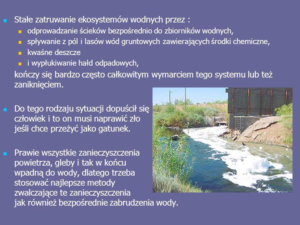 Stałe zatruwanie ekosystemów wodnych przez : odprowadzanie ścieków bezpośrednio do zbiorników wodnych, spływanie z pól i lasów wód gruntowych zawierających środki chemiczne, kwaśne deszcze i wypłukiwanie hałd odpadowych, kończy się bardzo często całkowitym wymarciem tego systemu lub też zaniknięciem.