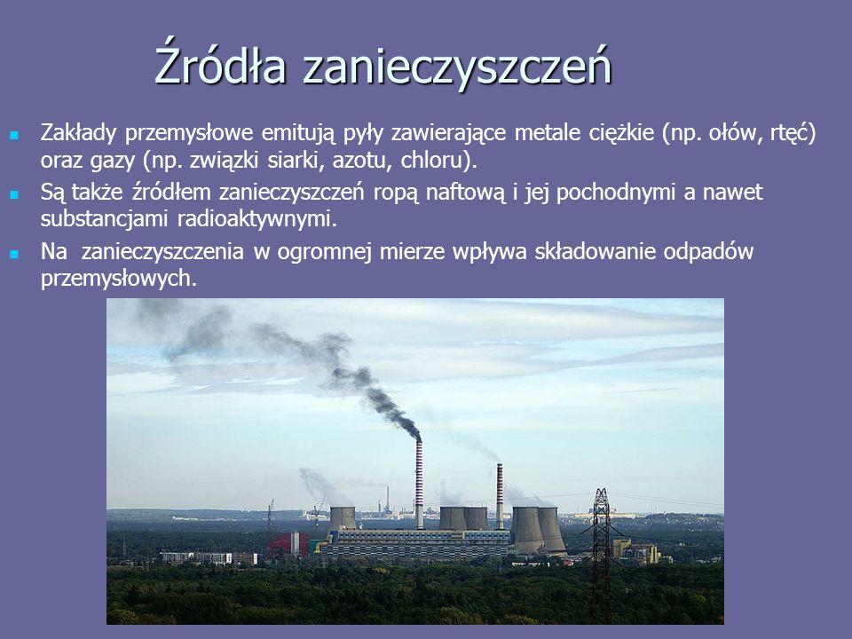 Źródła zanieczyszczeń Zakłady przemysłowe emitują pyły zawierające metale ciężkie (np.