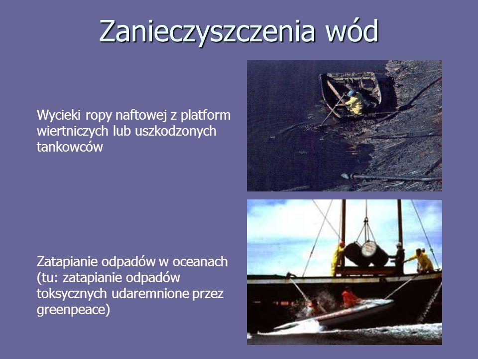 Zanieczyszczenia wód Wycieki ropy naftowej z platform wiertniczych lub uszkodzonych tankowców Zatapianie odpadów w oceanach (tu: zatapianie odpadów toksycznych udaremnione przez greenpeace)