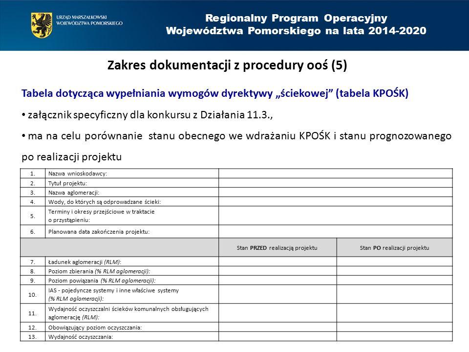 """Regionalny Program Operacyjny Województwa Pomorskiego na lata 2014-2020 Zakres dokumentacji z procedury ooś (5) Tabela dotycząca wypełniania wymogów dyrektywy """"ściekowej (tabela KPOŚK) załącznik specyficzny dla konkursu z Działania 11.3., ma na celu porównanie stanu obecnego we wdrażaniu KPOŚK i stanu prognozowanego po realizacji projektu 1.Nazwa wnioskodawcy: 2.Tytuł projektu: 3.Nazwa aglomeracji: 4.Wody, do których są odprowadzane ścieki: 5."""