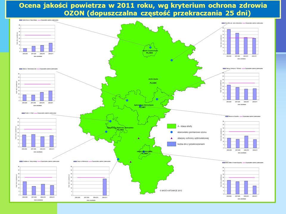 Ocena jakości powietrza w 2011 roku, wg kryterium ochrona zdrowia OZON (dopuszczalna częstość przekraczania 25 dni)