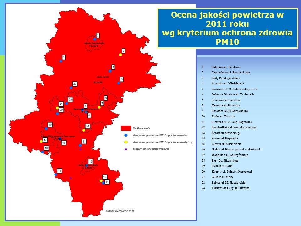 Ocena jakości powietrza w 2011 roku wg kryterium ochrona zdrowia PM10 1Lubliniec ul.