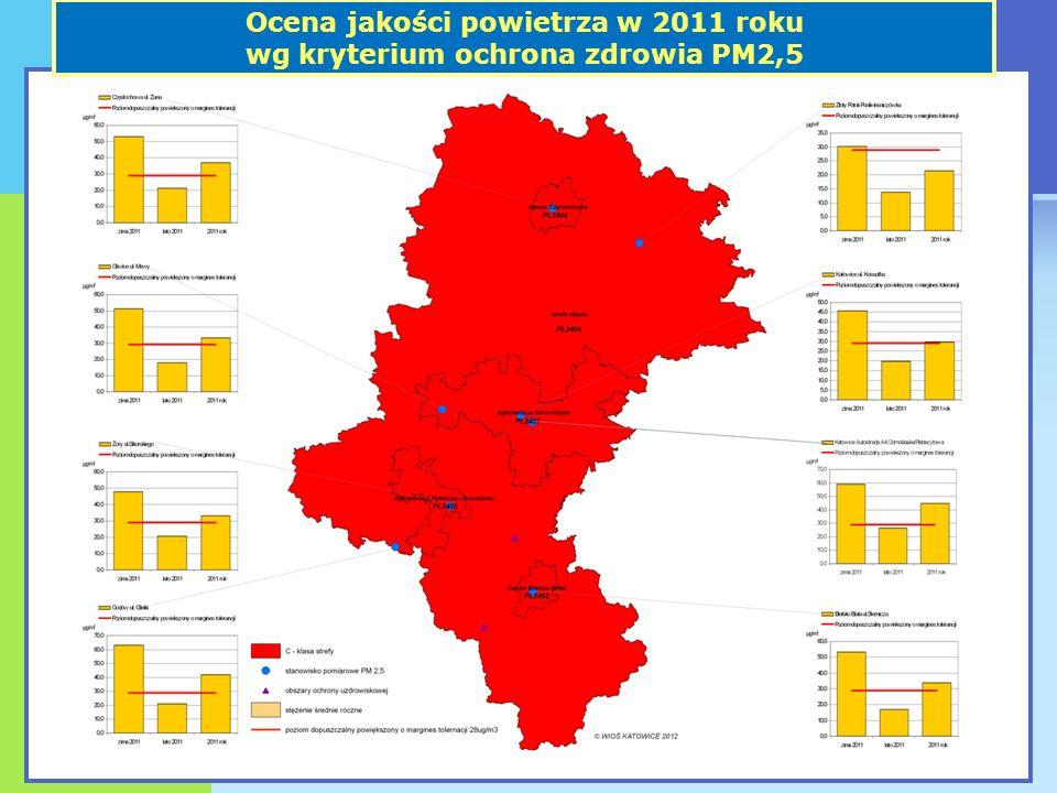 Ocena jakości powietrza w 2011 roku wg kryterium ochrona zdrowia PM2,5