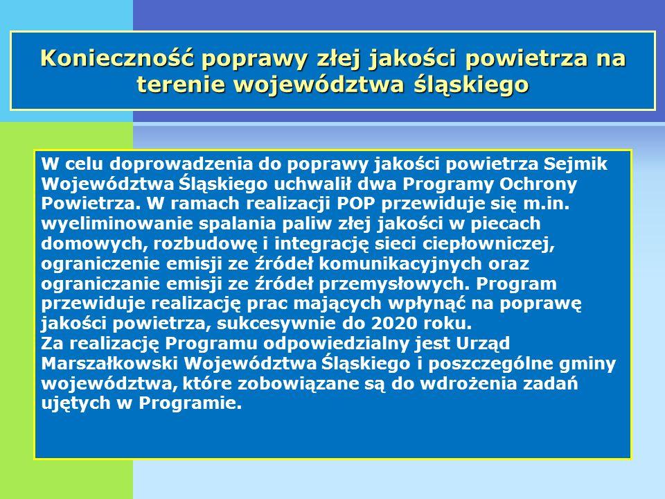 Konieczność poprawy złej jakości powietrza na terenie województwa śląskiego W celu doprowadzenia do poprawy jakości powietrza Sejmik Województwa Śląskiego uchwalił dwa Programy Ochrony Powietrza.