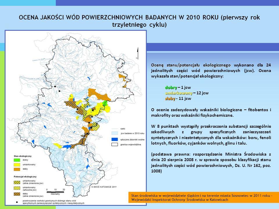 OCENA JAKOŚCI WÓD POWIERZCHNIOWYCH BADANYCH W 2010 ROKU (pierwszy rok trzyletniego cyklu) Ocenę stanu/potencjału ekologicznego Ocenę stanu/potencjału ekologicznego wykonano dla 24 jednolitych części wód powierzchniowych (jcw).