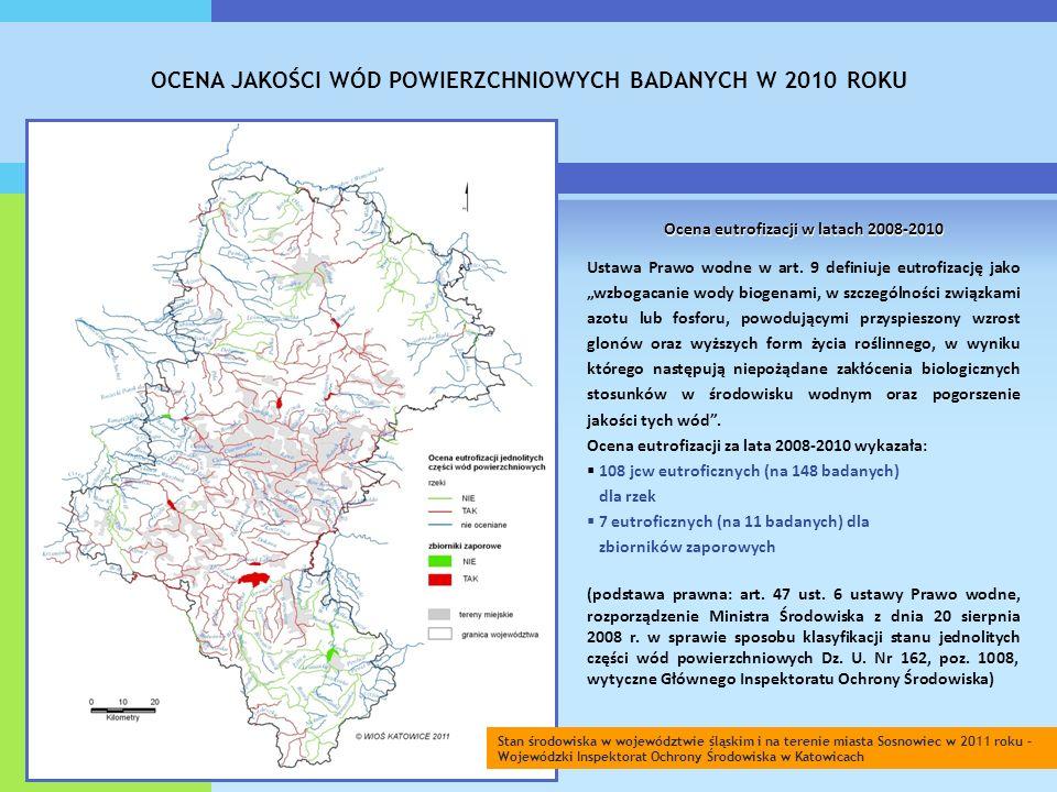 OCENA JAKOŚCI WÓD POWIERZCHNIOWYCH BADANYCH W 2010 ROKU Ocena eutrofizacji w latach 2008-2010 Ustawa Prawo wodne w art.