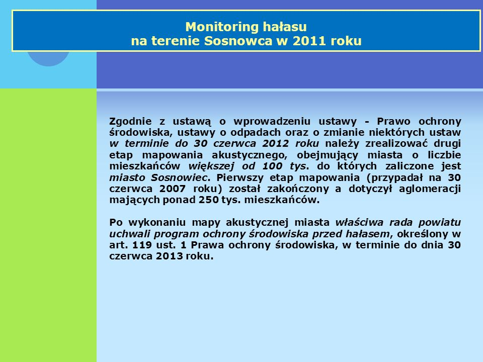 Monitoring hałasu na terenie Sosnowca w 2011 roku Zgodnie z ustawą o wprowadzeniu ustawy - Prawo ochrony środowiska, ustawy o odpadach oraz o zmianie niektórych ustaw w terminie do 30 czerwca 2012 roku należy zrealizować drugi etap mapowania akustycznego, obejmujący miasta o liczbie mieszkańców większej od 100 tys.