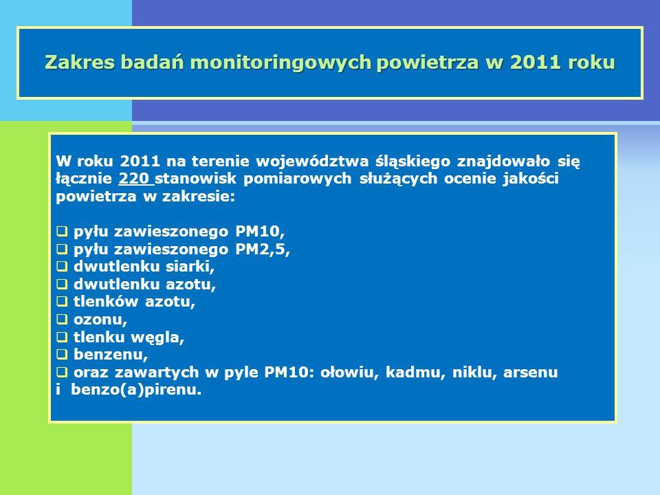 Rozmieszczenie stanowisk monitoringu powietrza w województwie śląskim w 2011 roku, w nowym układzie stref Stanowiska pomiarowe znajdują się: w 17 stacjach automatycznych, na 26 stanowiskach manualnych pyłu zawieszonego, w tym PM10 (17) i PM2,5 (9).