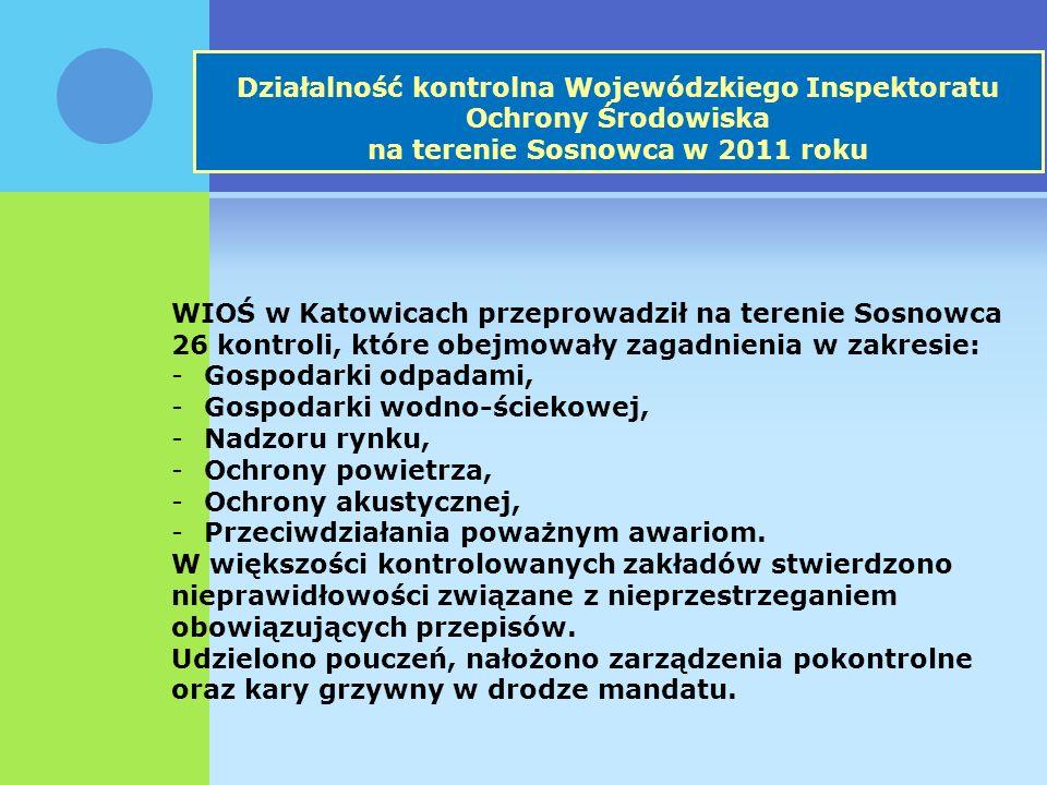 Działalność kontrolna Wojewódzkiego Inspektoratu Ochrony Środowiska na terenie Sosnowca w 2011 roku WIOŚ w Katowicach przeprowadził na terenie Sosnowca 26 kontroli, które obejmowały zagadnienia w zakresie: -Gospodarki odpadami, -Gospodarki wodno-ściekowej, -Nadzoru rynku, -Ochrony powietrza, -Ochrony akustycznej, -Przeciwdziałania poważnym awariom.