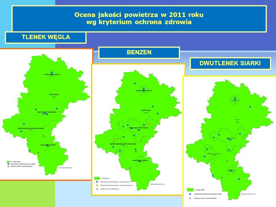 Ocena jakości powietrza w 2011 roku wg kryterium ochrona zdrowia TLENEK WĘGLA BENZEN DWUTLENEK SIARKI