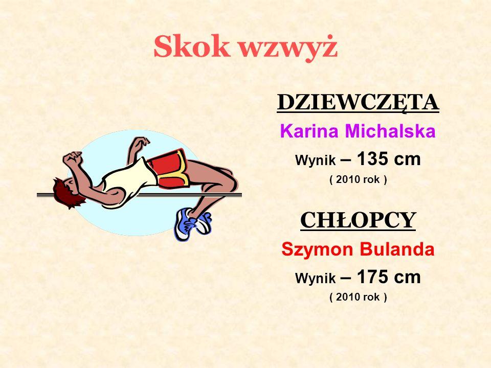 Skok wzwyż DZIEWCZĘTA Karina Michalska Wynik – 135 cm ( 2010 rok ) CHŁOPCY Szymon Bulanda Wynik – 175 cm ( 2010 rok )